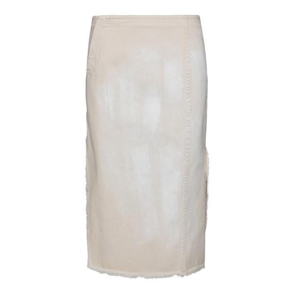 Beige pencil skirt with worn effect                                                                                                                   Marni GOJD0364Y8 back