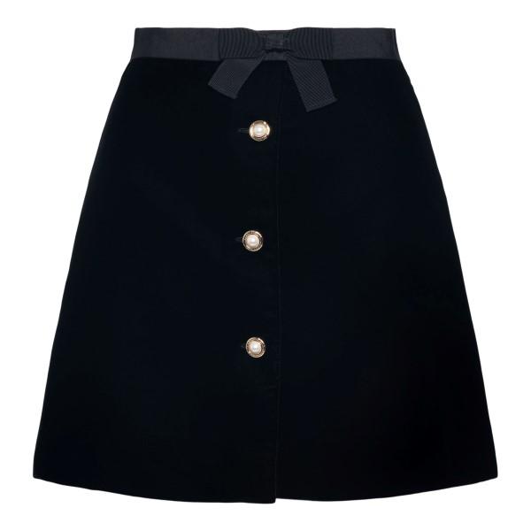 Black mini skirt with pearl buttons                                                                                                                   Miu Miu MG1636 back
