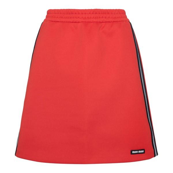 Short red skirt with logo                                                                                                                             Miu Miu MJD179 back