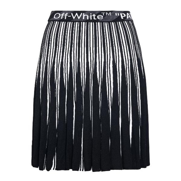 Minigonna nera con plissettature e logo                                                                                                               Off white OWHL011R21KNI001 fronte