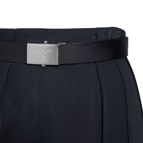 Black midi skirt with belt                                                                                                                             PRADA
