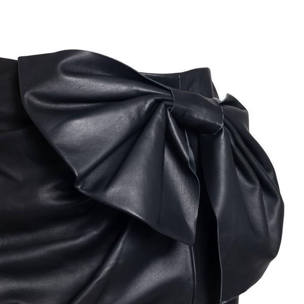 Black lambskin bow detail mini skirt                                                                                                                   RED VALENTINO
