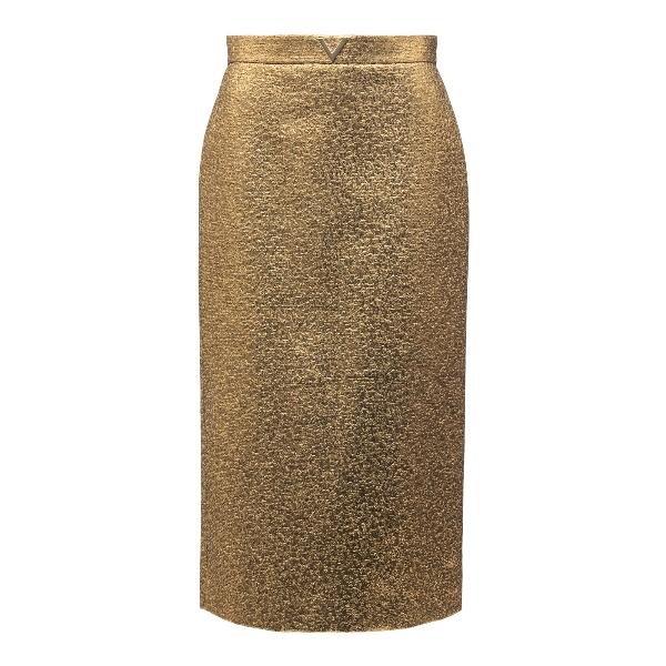 Metallic effect gold midi skirt                                                                                                                       Valentino VB3RA7B5 front