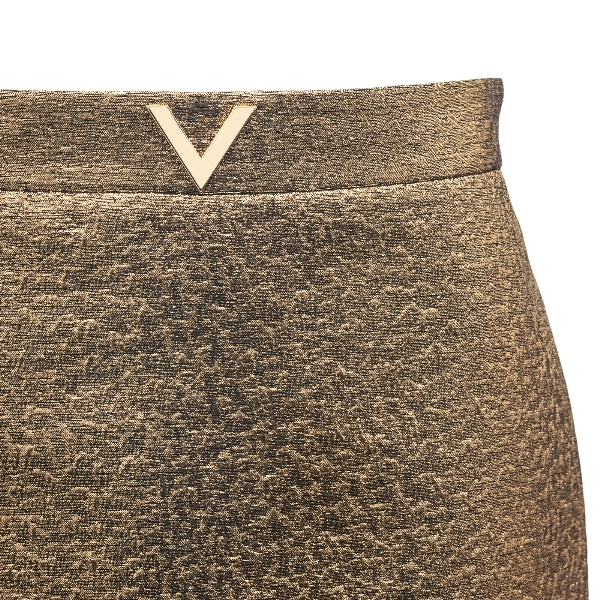 Metallic effect gold midi skirt                                                                                                                        VALENTINO