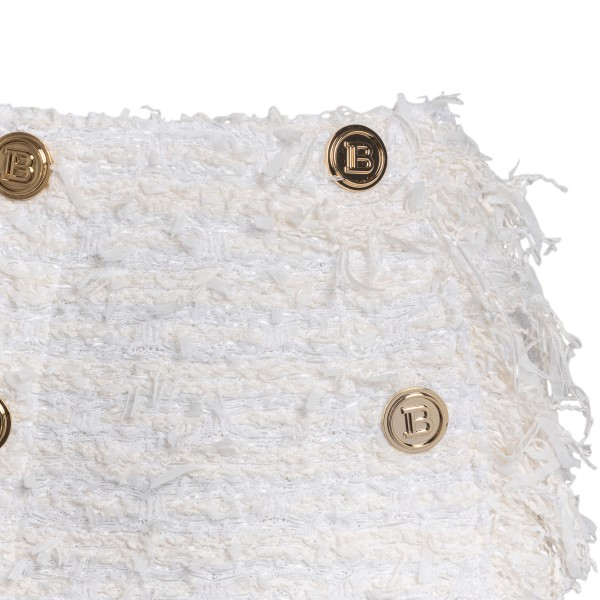 Minigonna bianca sfrangiata con bottoni oro                                                                                                            BALMAIN                                            BALMAIN