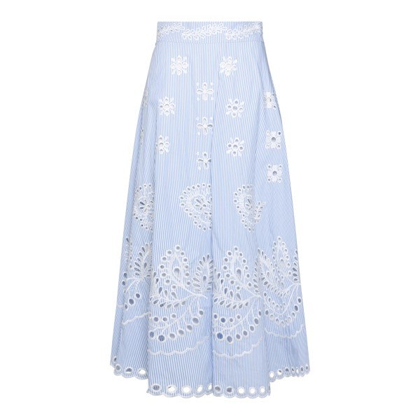 Blue striped midi skirt with embroidery                                                                                                               Red Valentino VR0RA01M back
