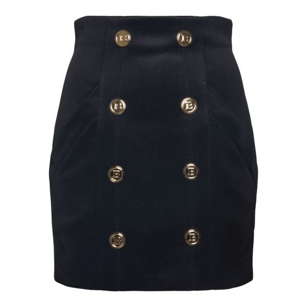 Black miniskirt with gold buttons                                                                                                                     Balmain WF1LA065J017 back