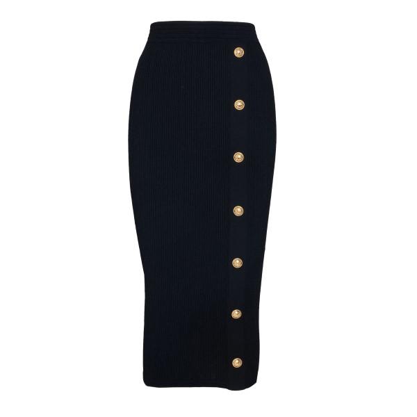 Black pencil skirt with gold buttons                                                                                                                  Balmain WF1LD065K211 back