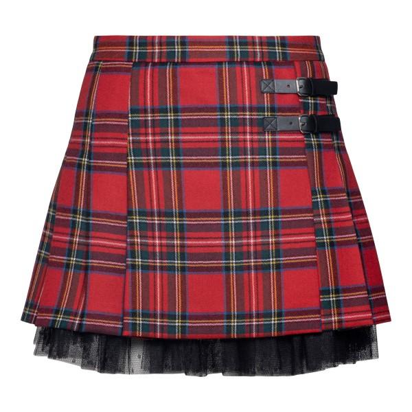 Red miniskirt in tartan pattern                                                                                                                       Red Valentino WR3RAG28 back