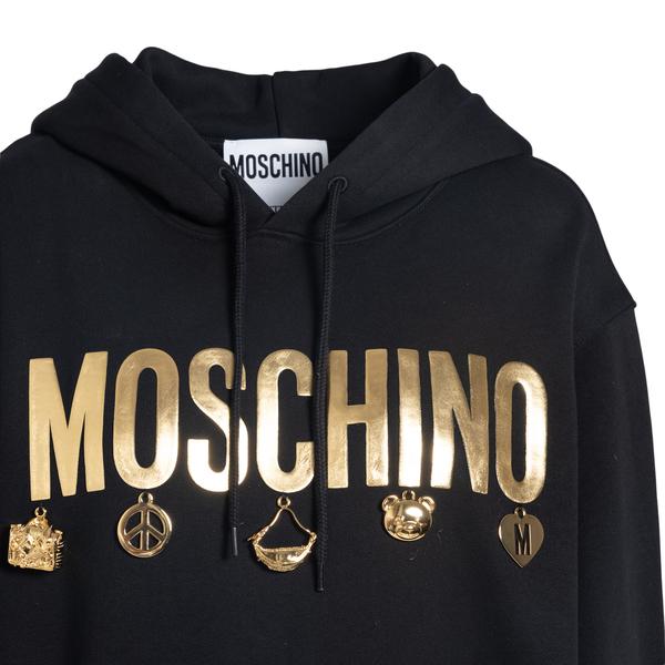 Black sweatshirt dress with gold brand name                                                                                                            MOSCHINO
