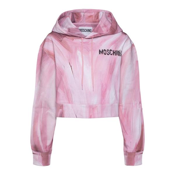 Felpa crop rosa con nome brand                                                                                                                        Moschino 1710 retro