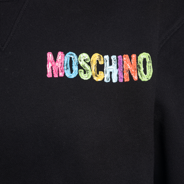 Black sweatshirt with multicolored prints                                                                                                              MOSCHINO