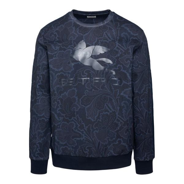 Blue sweatshirt with floral pattern                                                                                                                    ETRO