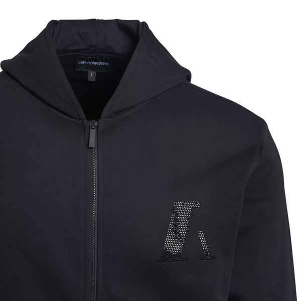 Black sweatshirt with rhinestone logo                                                                                                                  EMPORIO ARMANI
