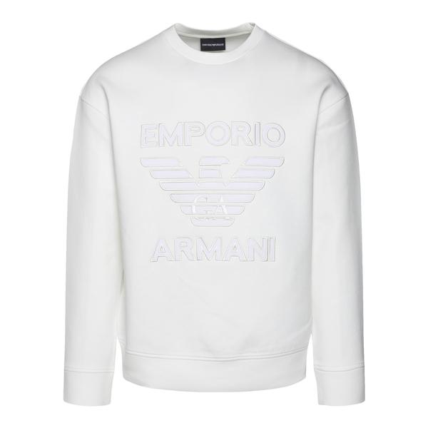Felpa bianca con logo a tono                                                                                                                          Emporio Armani 6K1M97 retro