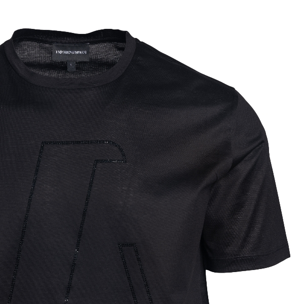 T-shirt nera con logo in strass                                                                                                                        EMPORIO ARMANI EMPORIO ARMANI