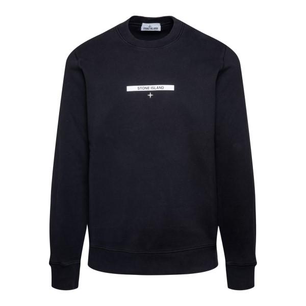 Black sweatshirt with brand name                                                                                                                       STONE ISLAND