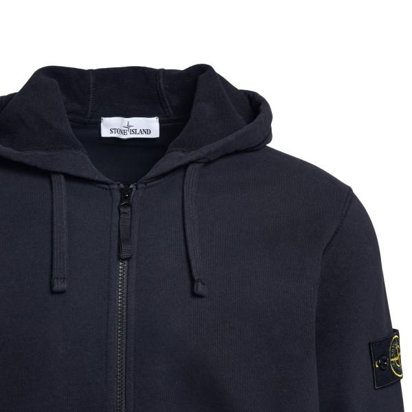 Black sweatshirt with zip closure                                                                                                                      STONE ISLAND