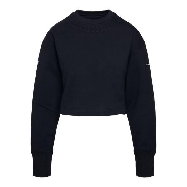 Black crop sweatshirt with logo on sleeves                                                                                                            Givenchy BWJ020 back