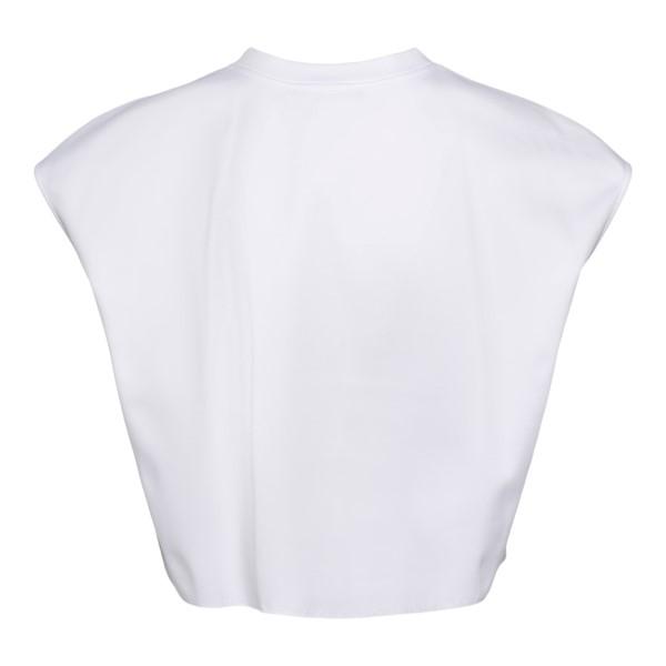 White crop T-shirt with lace logo                                                                                                                      DOLCE&GABBANA