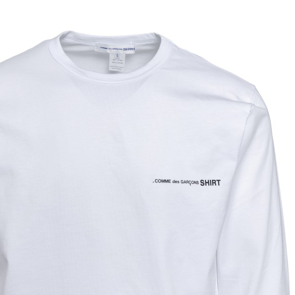 White long-sleeved T-shirt with logo                                                                                                                   COMME DE GARCONS PLAY