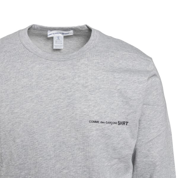 Long-sleeved grey T-shirt with logo                                                                                                                    COMME DE GARCONS PLAY