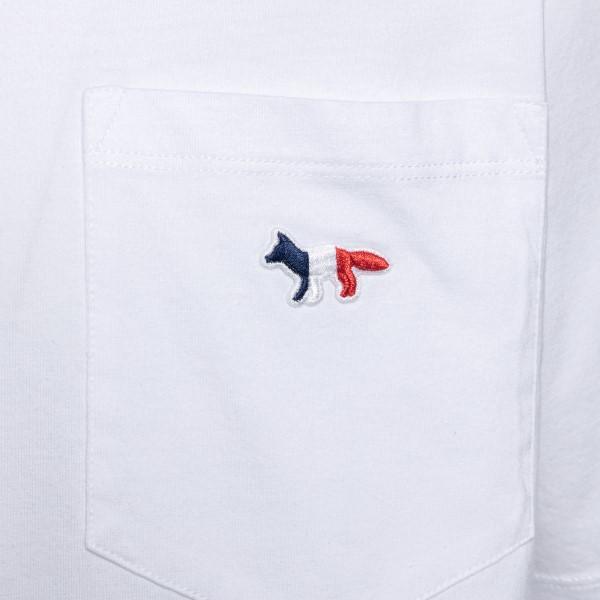 T-shirt bianca con logo e taschina                                                                                                                     MAISON KITSUNE                                     MAISON KITSUNE