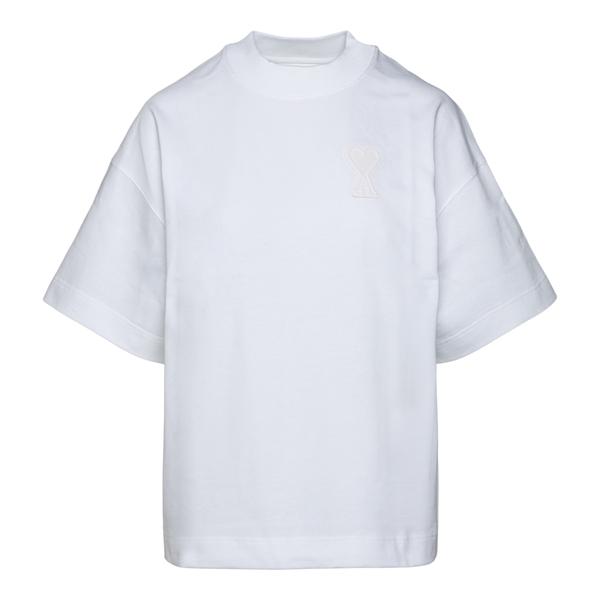 T-shirt bianca con logo a tono                                                                                                                        Ami H21FJ117 retro