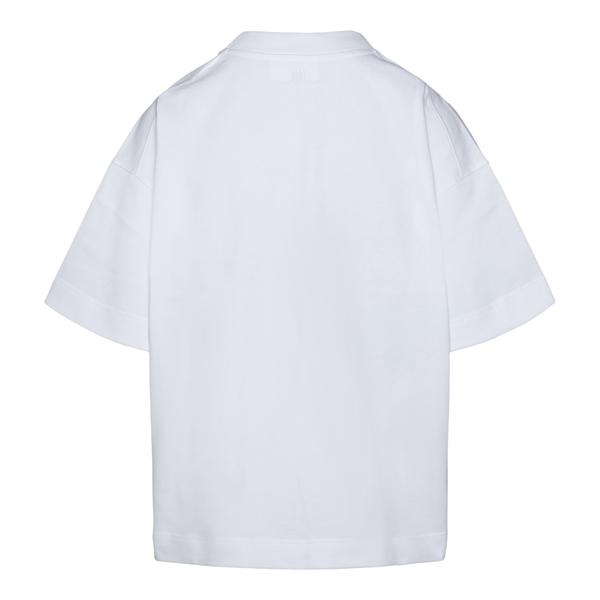 T-shirt bianca con logo a tono                                                                                                                         AMI                                                AMI