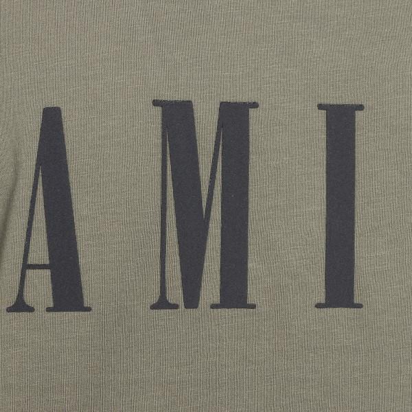 Military green T-shirt with logo print                                                                                                                 AMIRI
