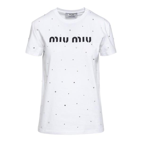 T-shirt bianca con cristalli                                                                                                                          Miu miu MJN240 fronte