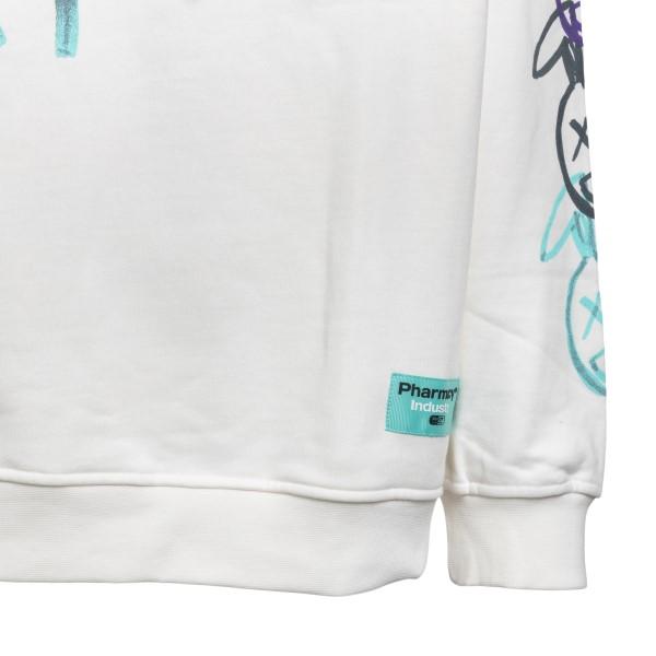 Felpa bianca con stampe su maniche                                                                                                                     PHARMACY PHARMACY