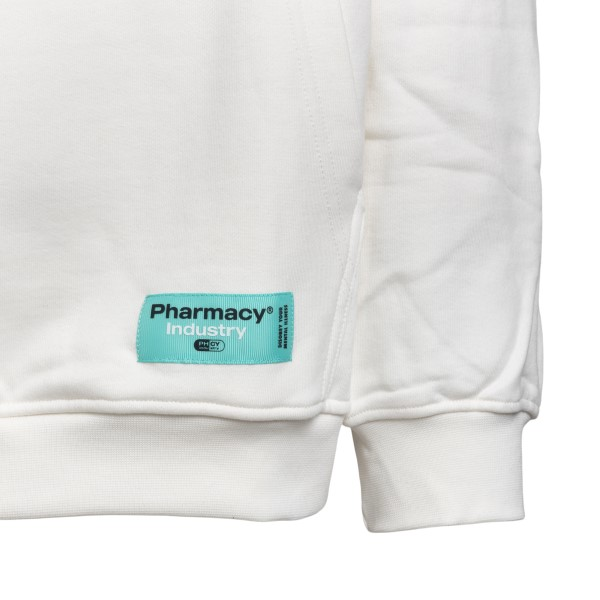 Felpa bianca con nome brand                                                                                                                            PHARMACY PHARMACY