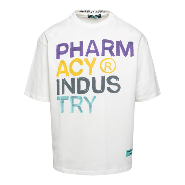 T-shirt bianca con scritta multicolore                                                                                                                 PHARMACY                                           PHARMACY