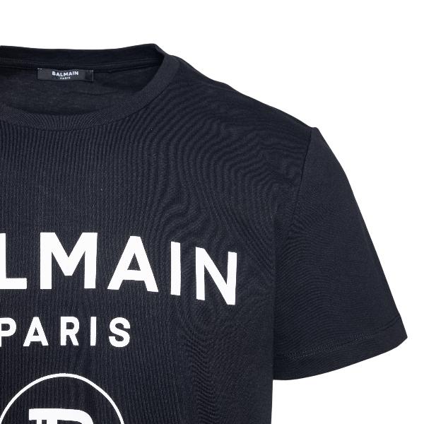 T-shirt nera con stampa logo a contrasto                                                                                                               BALMAIN                                            BALMAIN
