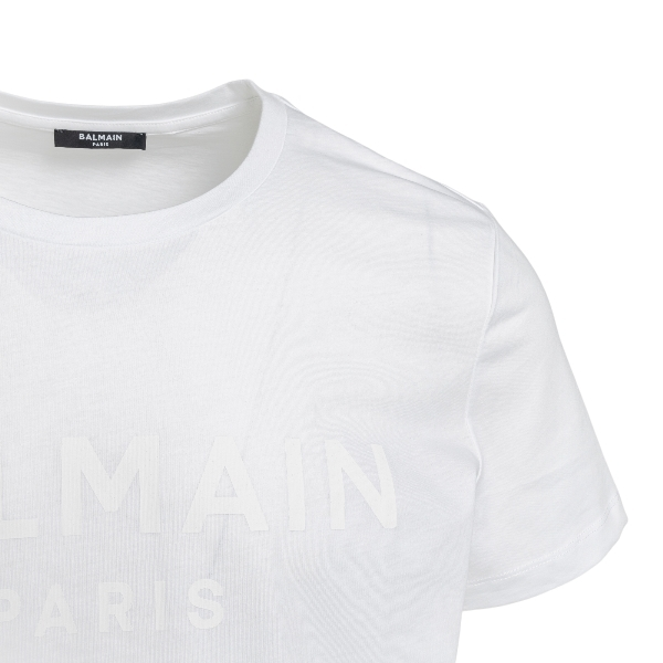 T-shirt bianca con logo tono su tono                                                                                                                   BALMAIN                                            BALMAIN