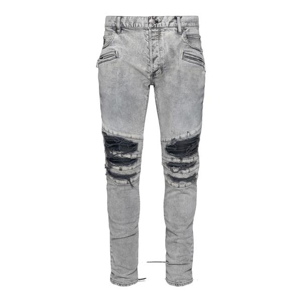 Jeans skinny grigi a effetto vissuto                                                                                                                  Balmain WH1MG010147D retro