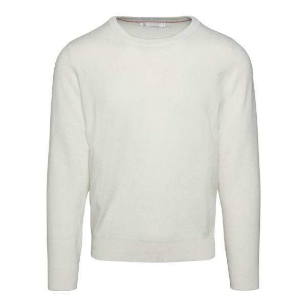 Minimal cream-colored sweater                                                                                                                          BRUNELLO CUCINELLI