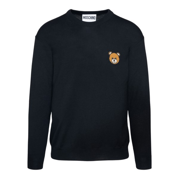 Black sweater with teddy bear patch                                                                                                                    MOSCHINO