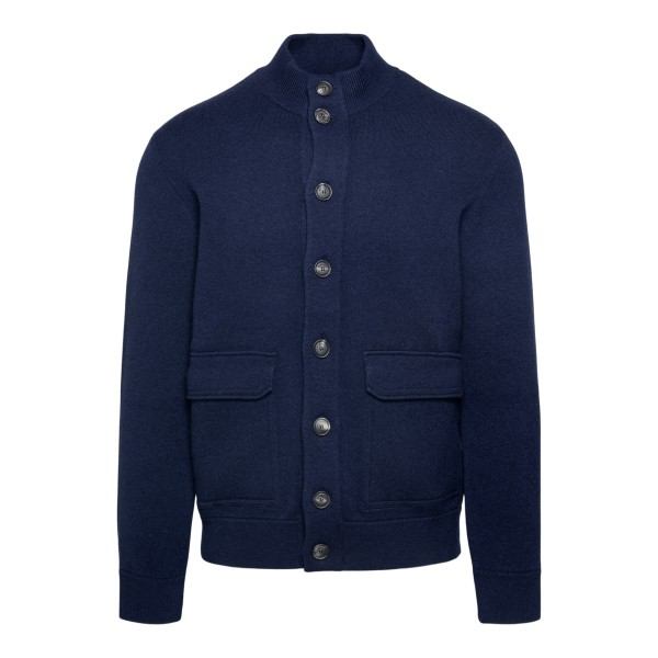 Blue cardigan with side pockets                                                                                                                        BRUNELLO CUCINELLI