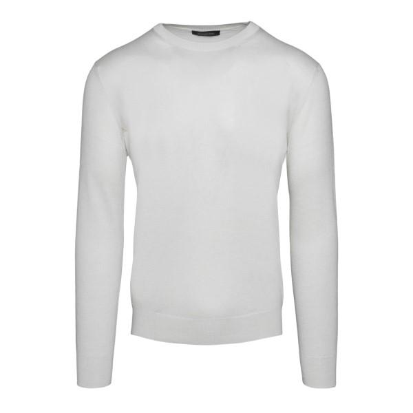 Minimal white sweater                                                                                                                                 Zegna 110 back