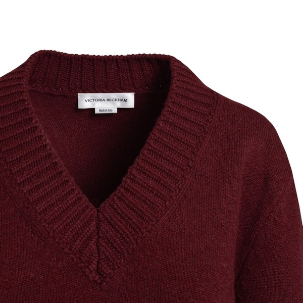 Burgundy long-sleeved V-neck jumper                                                                                                                    VICTORIA BECKHAM