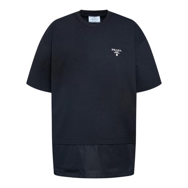 T-shirt con fondo in nylon                                                                                                                             PRADA                                              PRADA