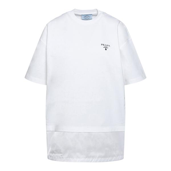 T-shirt with nylon detail                                                                                                                              PRADA