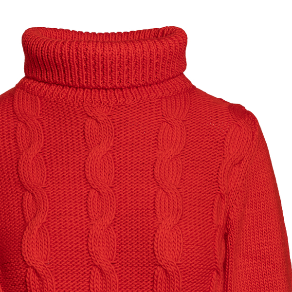 Red turtleneck sweater                                                                                                                                 VICTORIA BECKHAM