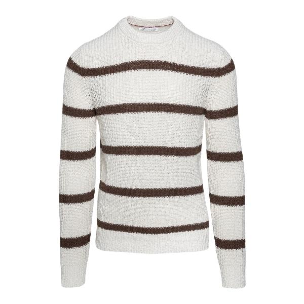 White striped sweater                                                                                                                                 Brunello cucinelli 1700 front