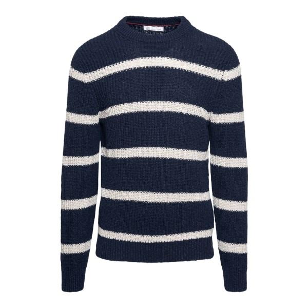 Striped navy blue sweater                                                                                                                             Brunello cucinelli 1700 front