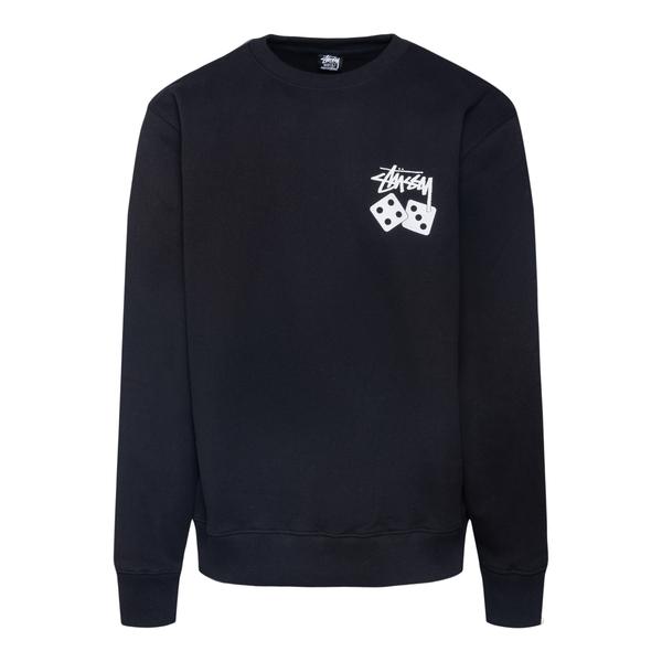 Felpa nera con nome brand e dadi                                                                                                                      Stussy                                             1914721 retro