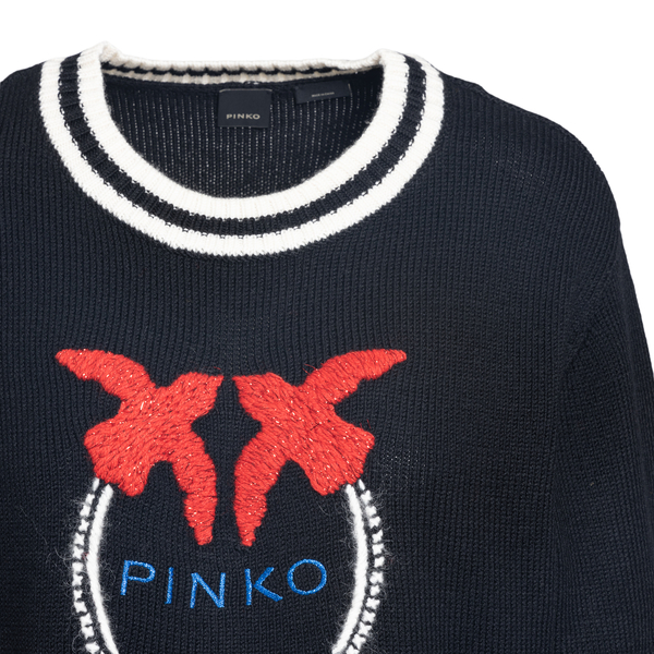 Black sweater with logo embroidery                                                                                                                     PINKO
