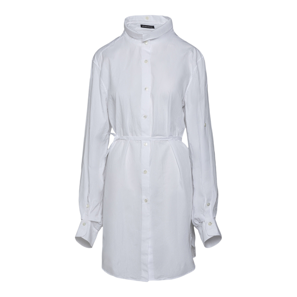 Camicia bianca lunga con nastro in vita                                                                                                               Ann Demeulemeester 2102WSH05 retro